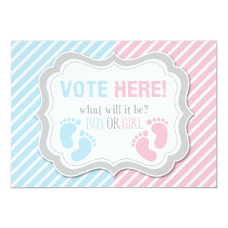 "Footprints Gender Reveal Voting Table Sign 5"" X 7"" Invitation Card"