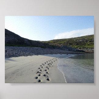 Footprints in Sand-Tamana Beach Harris Scotland Poster
