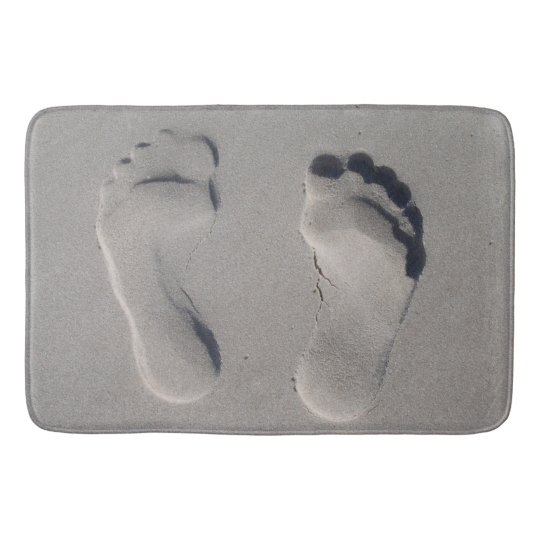 Footprints in the sand bathroom mat