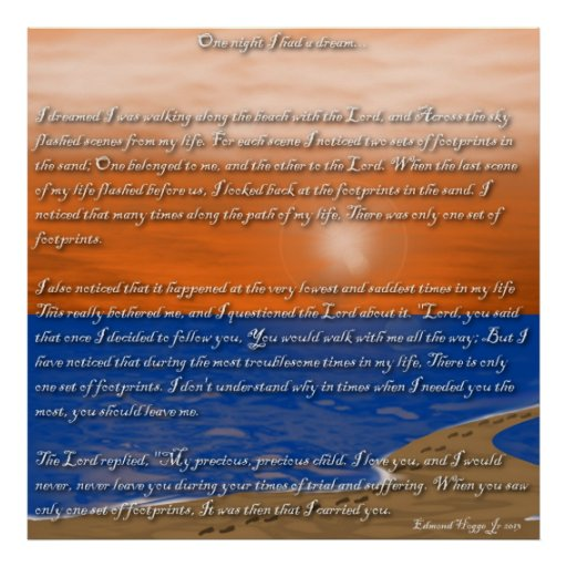 Footprints in the Sand Poem Poster