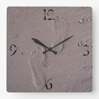 Footprints in the Sand Square Wall Clock