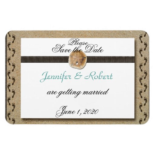 Footprints in the Sand Wedding Save the Date Rectangular Magnets