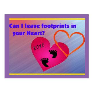 Footprints on Hearts Postcard
