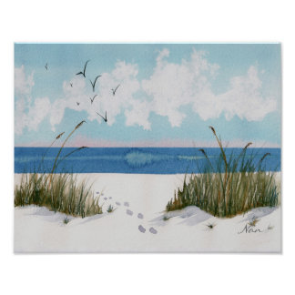 Footprints on the Beach Print