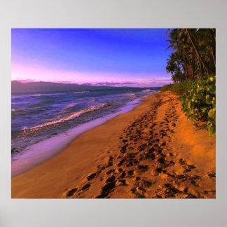 Footprints On The Sandy Beach Poster