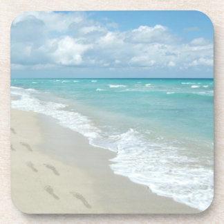 Footprints on White Sandy Beach, Scenic Aqua Blue Coasters