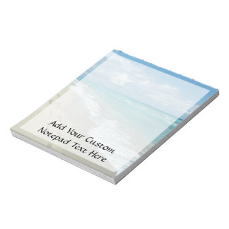 Footprints on White Sandy Beach, Scenic Aqua Blue Notepad