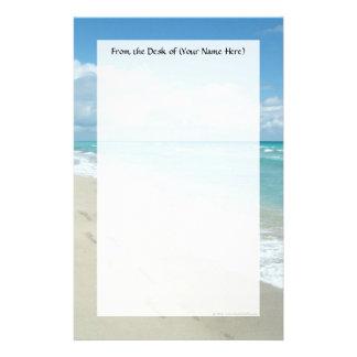 Footprints on White Sandy Beach, Scenic Aqua Blue Stationery