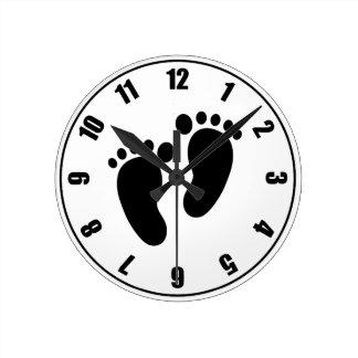 Footprints Round Clock