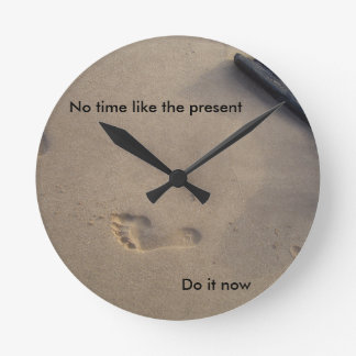 Footsteps in Sand Inspirational Encouragement Hope Round Clock