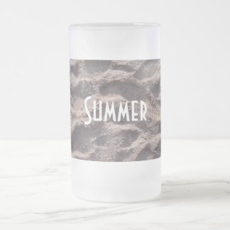 Footsteps in The Sand Beach Summer Holiday Frosted Glass Beer Mug