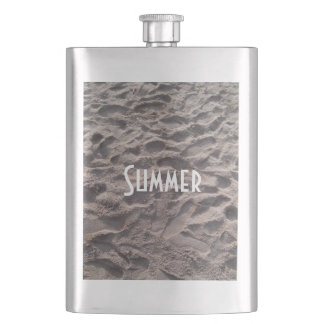 Footsteps in The Sand Beach Summer Holiday Hip Flask