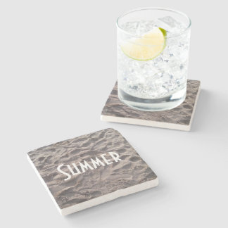 Footsteps in The Sand Beach Summer Holiday Stone Beverage Coaster