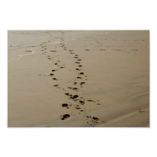 Footsteps Intertwined In Sand Posters