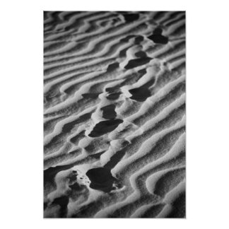 Footsteps on a Sandy Beach Poster