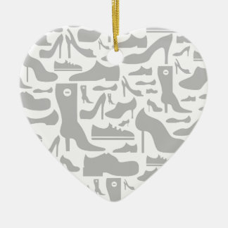 Footwear a background ceramic heart ornament