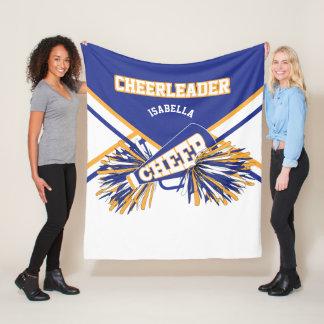 For a Cheerleader - Blue, Gold & White 2 Fleece Blanket