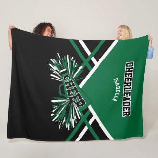For a Cheerleader - Dark Green, White & Black -Lg Fleece Blanket