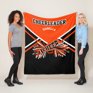 For a Cheerleader - Orange, Black & White - Medium Fleece Blanket