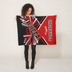 For a Cheerleader - Red, Black & White Fleece Blanket