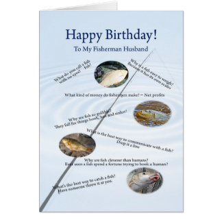 For a Husband, Fishing jokes birthday card