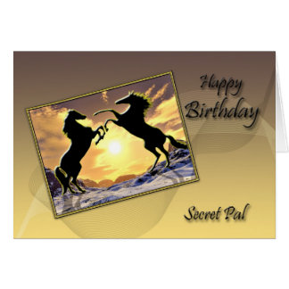 For a secret , a Birthday card with rearing horses