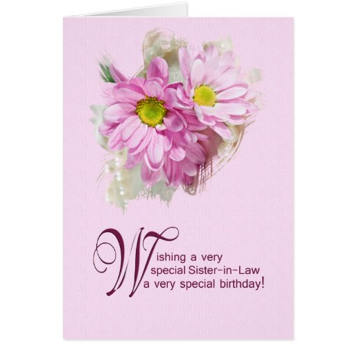 For a sister-in-law, a birthday card with daisies
