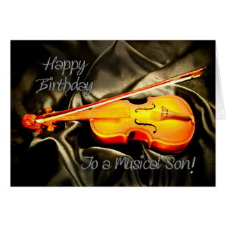for a Son, musical birthday card with a violin