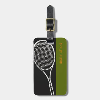 for a tennis-player travel, a black & green luggage tag
