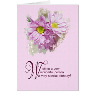 For a woman, a birthday card with daisies