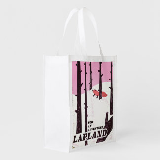 For an adventure Lapland vintage poster Reusable Grocery Bag