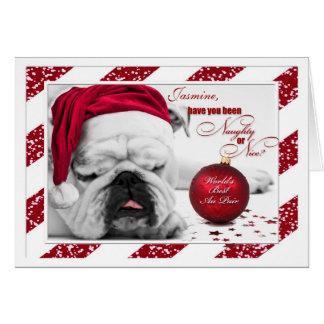 for Au Pair Christmas Bulldog Card