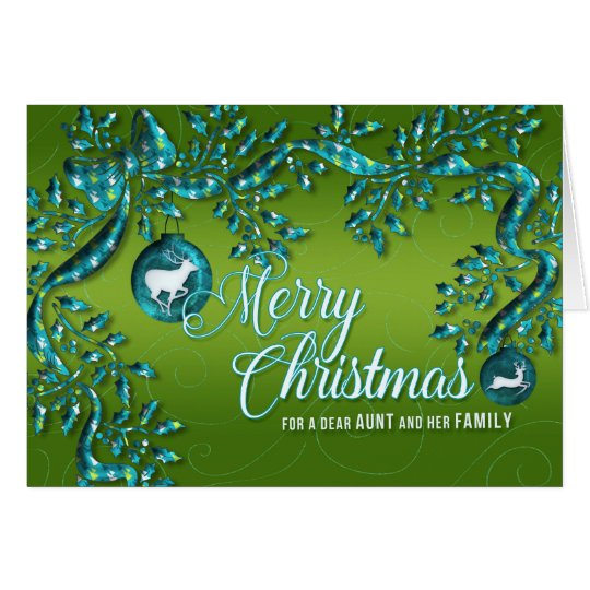 for Aunt and her Family Green Turquoise Christmas Card