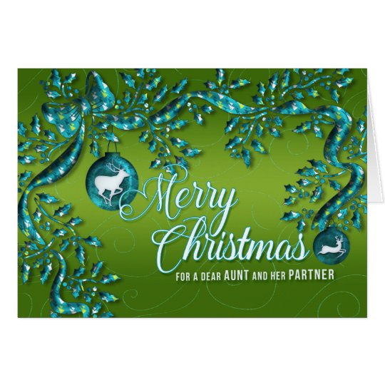 for Aunt and Partner Green Turquoise Christmas Card