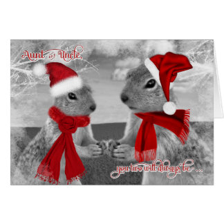 for Aunt and Uncle Christmas | Squirrels in Love Card
