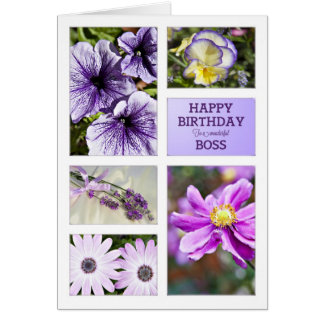 For Boss, Lavender hues floral birthday card