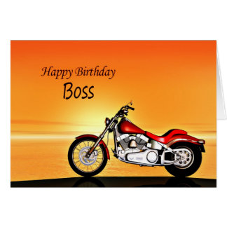 For Boss, Motorcycle in the sunset birthday card