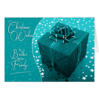 for Brother and Family Turquoise Blue Christmas Card