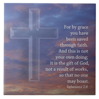 For by grace  cross and sunset ceramic tiles