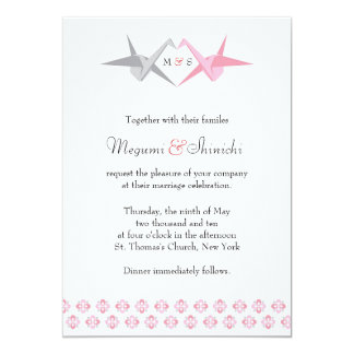 For Carrie: Origami Cranes (Pink & Silver) Wedding Card