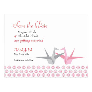 For Carrie: Origami Cranes (Pink Silver) Wedding S Postcard