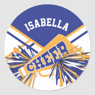 For Cheerleaders  - White, Blue and Gold Classic Round Sticker