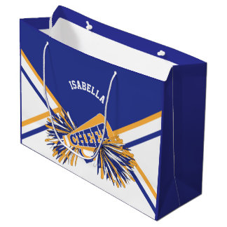 For Cheerleaders  - White, Blue and Gold - Large Large Gift Bag