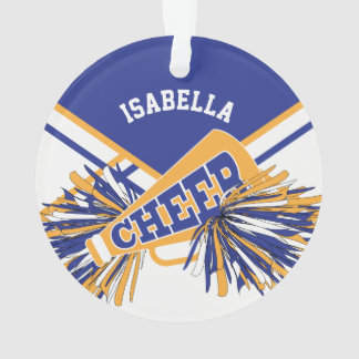 For Cheerleaders  - White, Blue and Gold Ornament