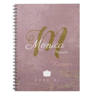 for chef recipes a stylish monogram on dusty rose notebooks