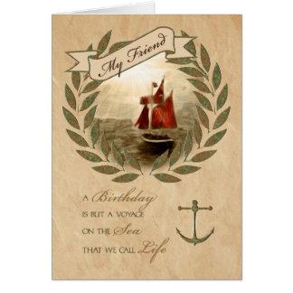 for Friend Birthday Sailing Theme Card