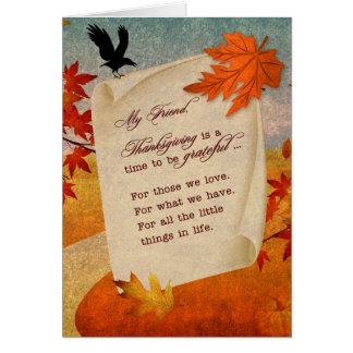 for Friend Thanksgiving Sentimental Autumn Path Card