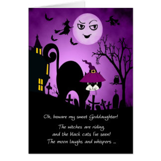 for Goddaughter Halloween Laughing Moon Black Cat Card