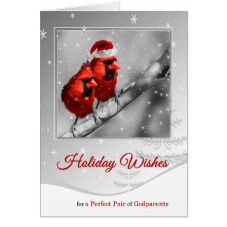 for Godparents Pair of Red Cardinals Christmas Card