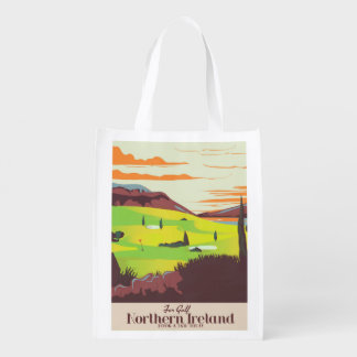 'For Golf' Northern Ireland Travel poster Reusable Grocery Bag